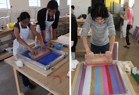 Students from Marfa and Austin screen printing