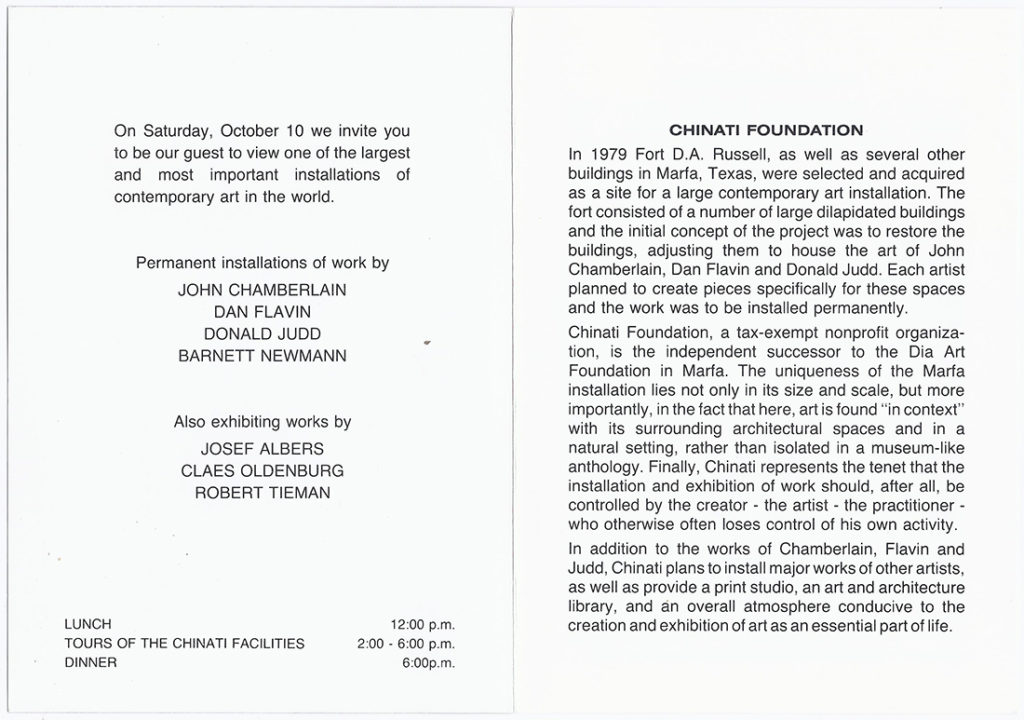 Printed invitation brochure for Chinati's Open House in 1987