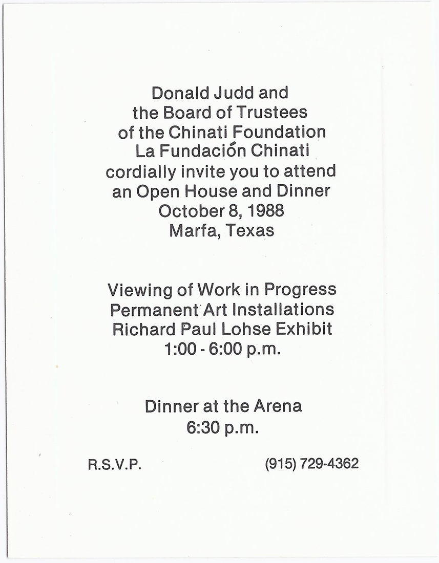 Printed invitation card for Chinati's Open House in 1988.