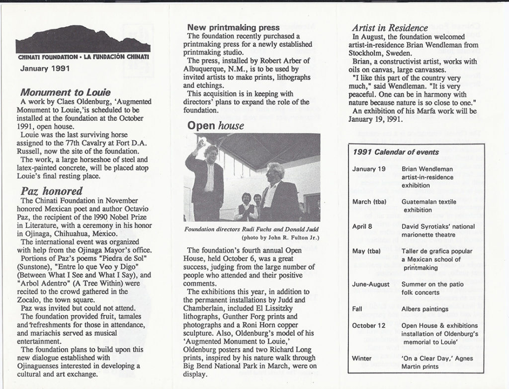 Newsletter brochure published by Chinati in 1991.