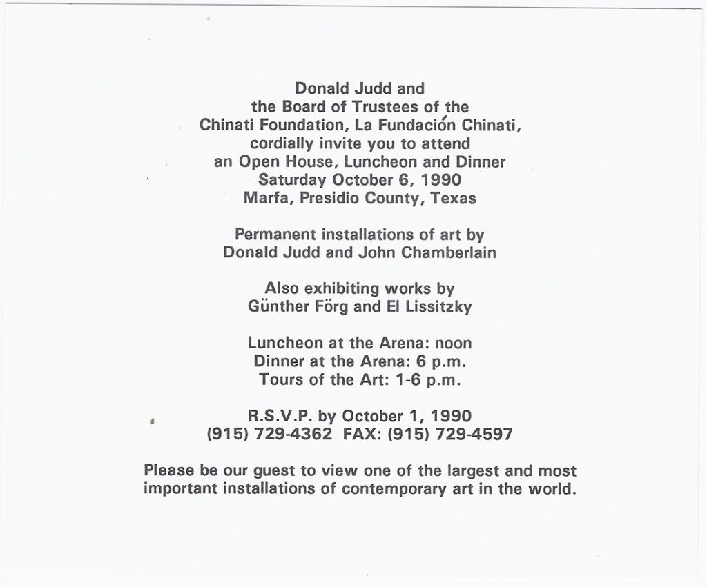 Printed invitation card for Chinati's Open House in 1990.