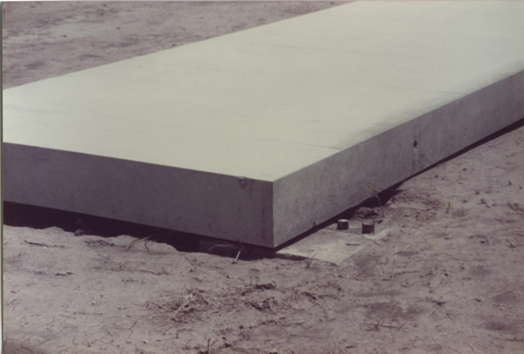 Concrete works: installation view showing placement of slab