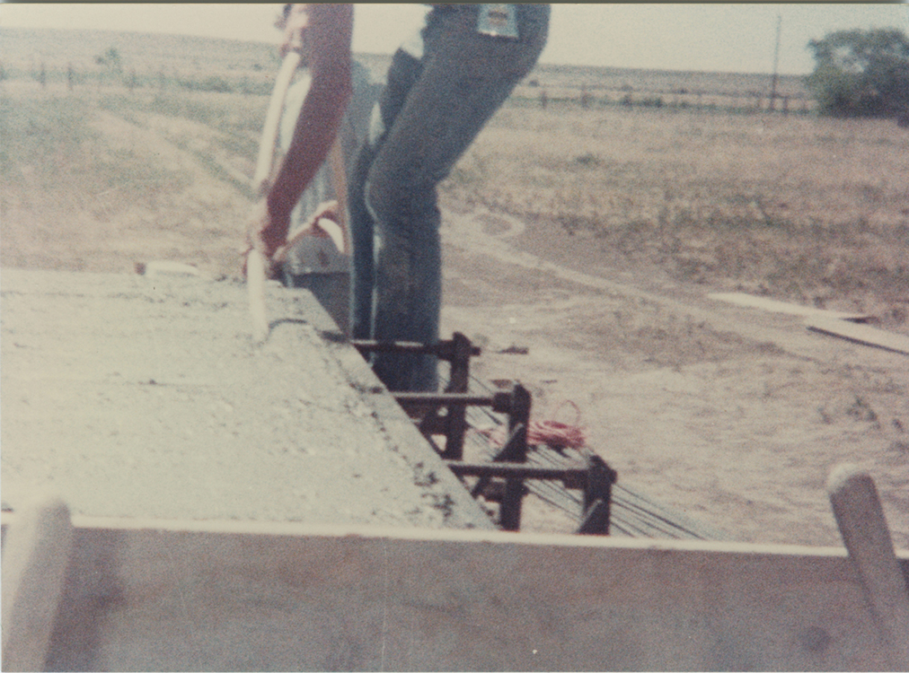 Concrete works: installation view showing pouring