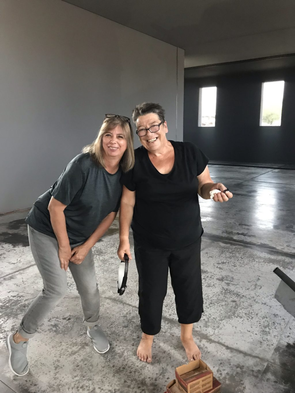 Former Dia art installer Vickie Arndt and former Chinati Conservator Bettina Landgrebe replace Irwin scrim