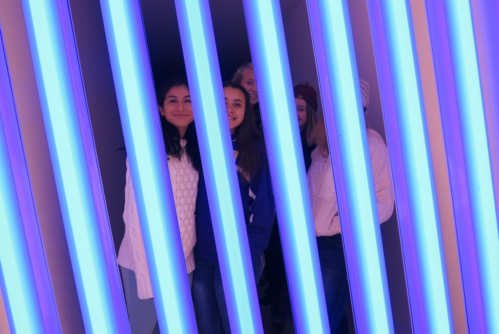 Students in Flavin untitled