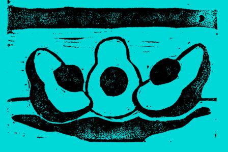 Linoleum block print of avacados.