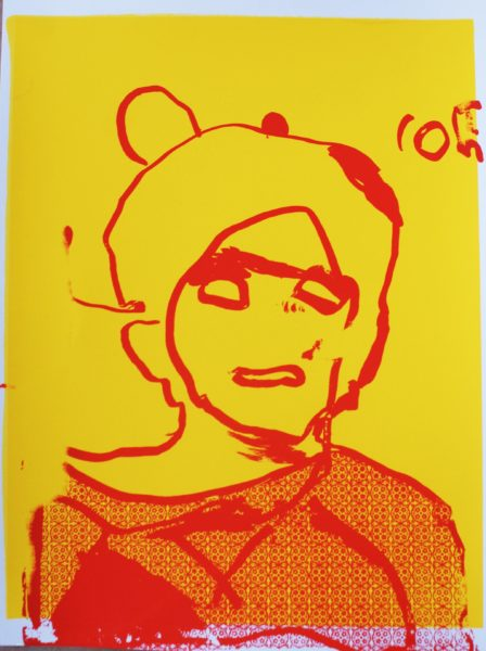 Self-portrait, screen print with emulsion stencil