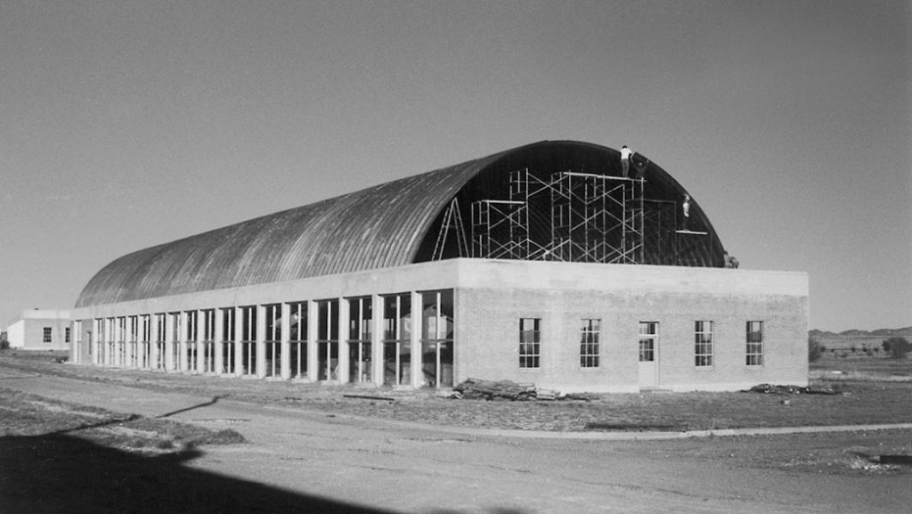 Artillery shed during roof construction