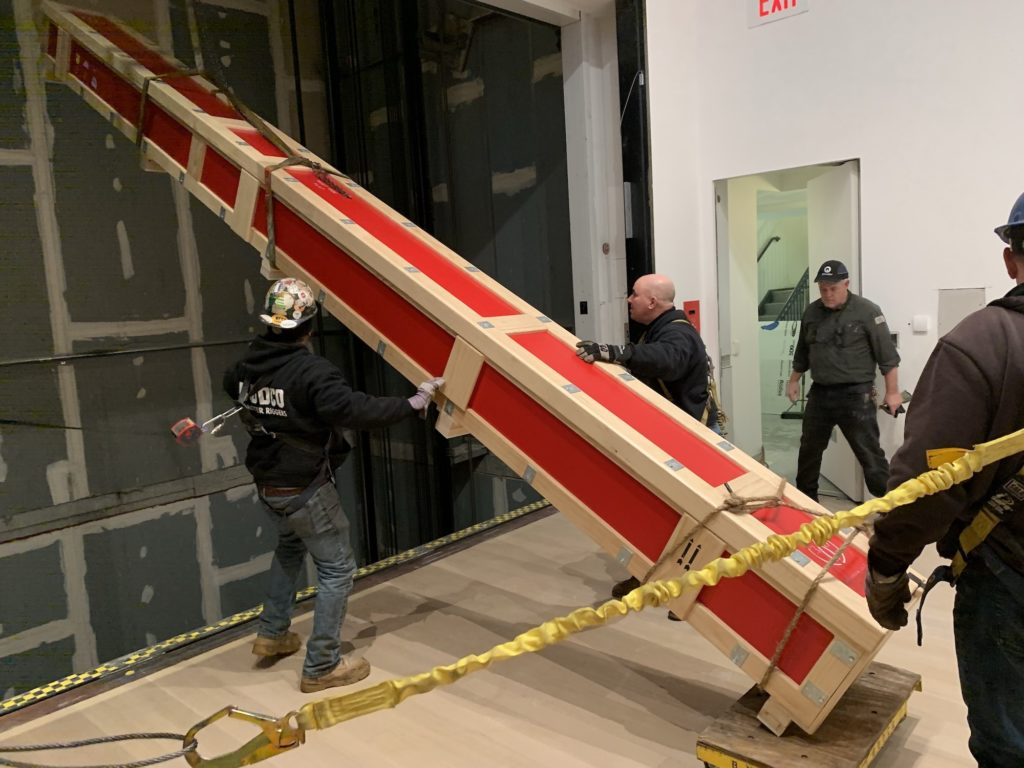 Rigging elevator shaft by BUDCO for install of Judd progression 2