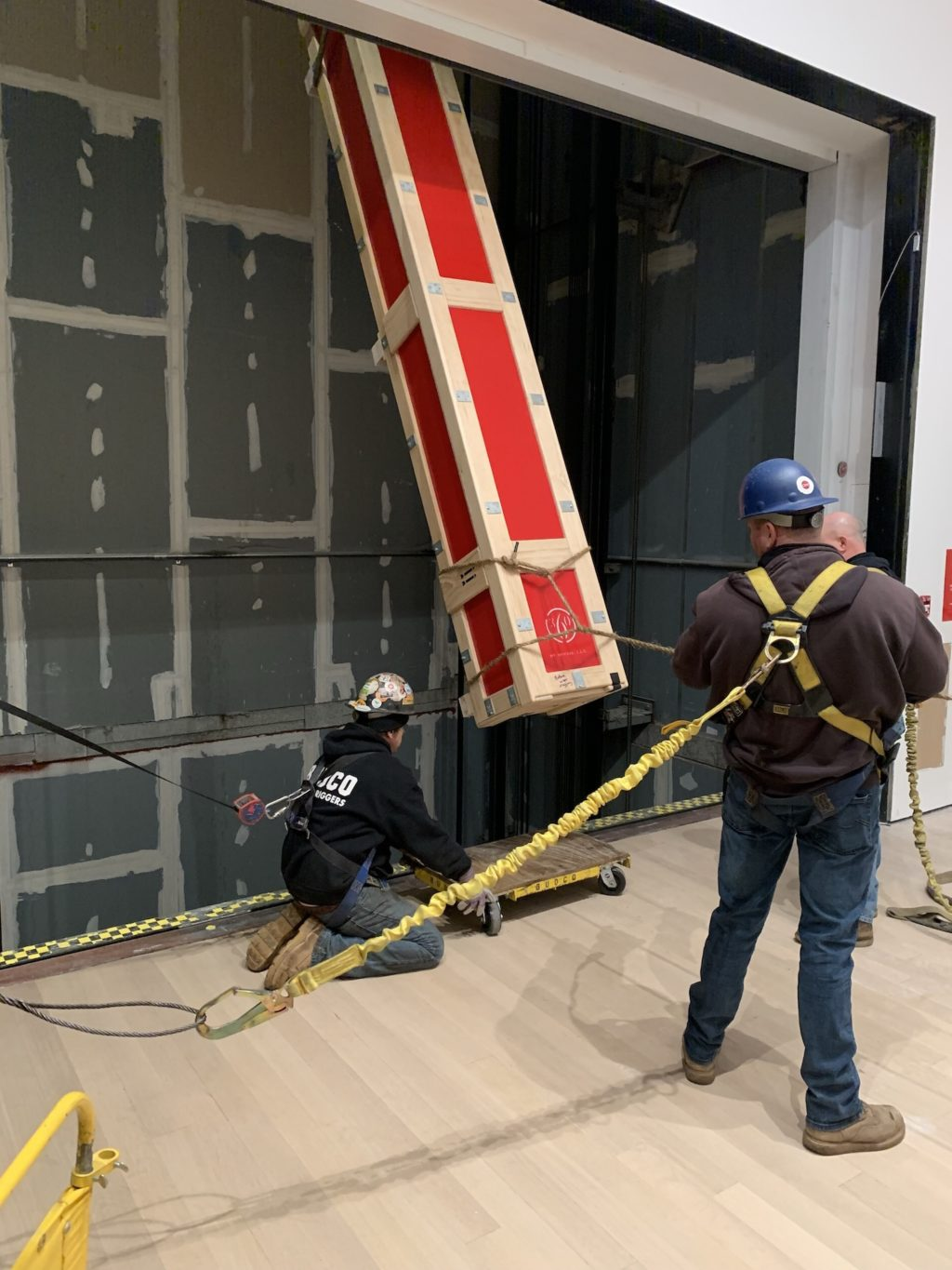 Rigging elevator shaft by BUDCO for install of Judd progression 3