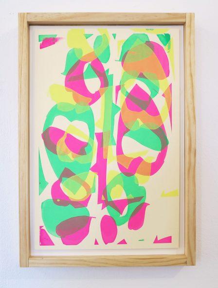 Emulsion screenprint using tape as a stencil.