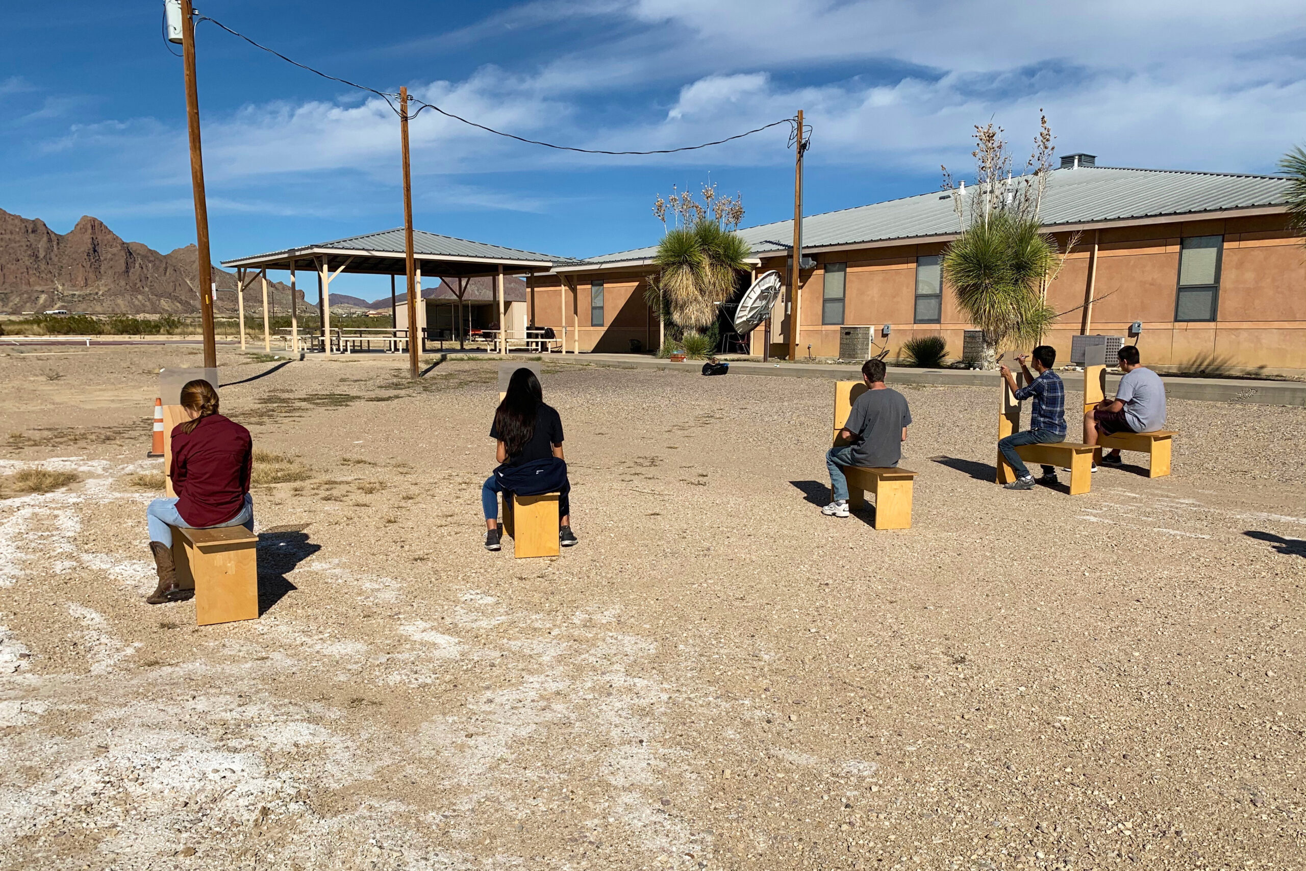 Terlingua students making perspective drawings