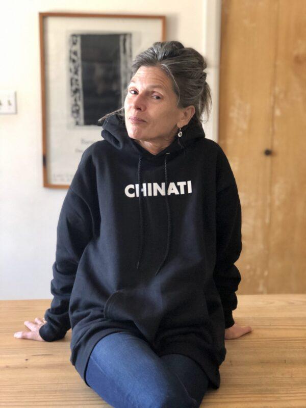 Ingrid in the Chinati hoodie