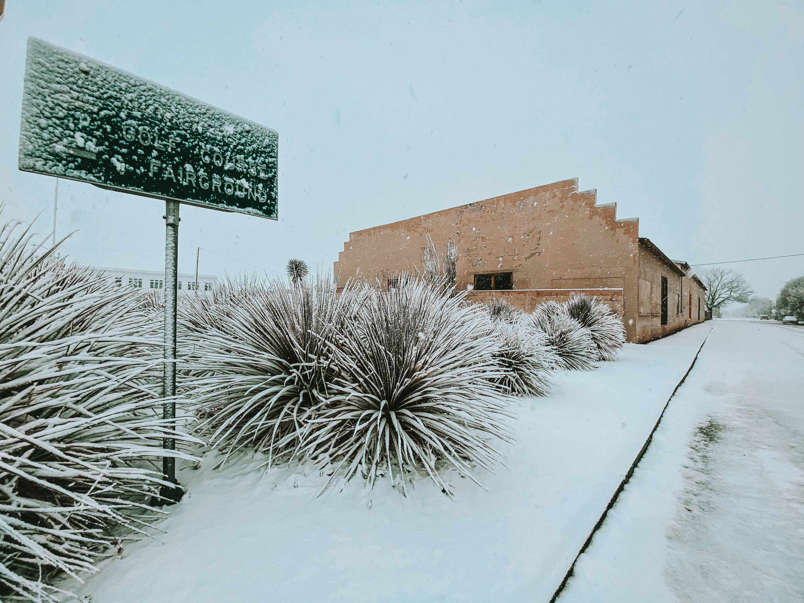 John Chamberlain building in snow