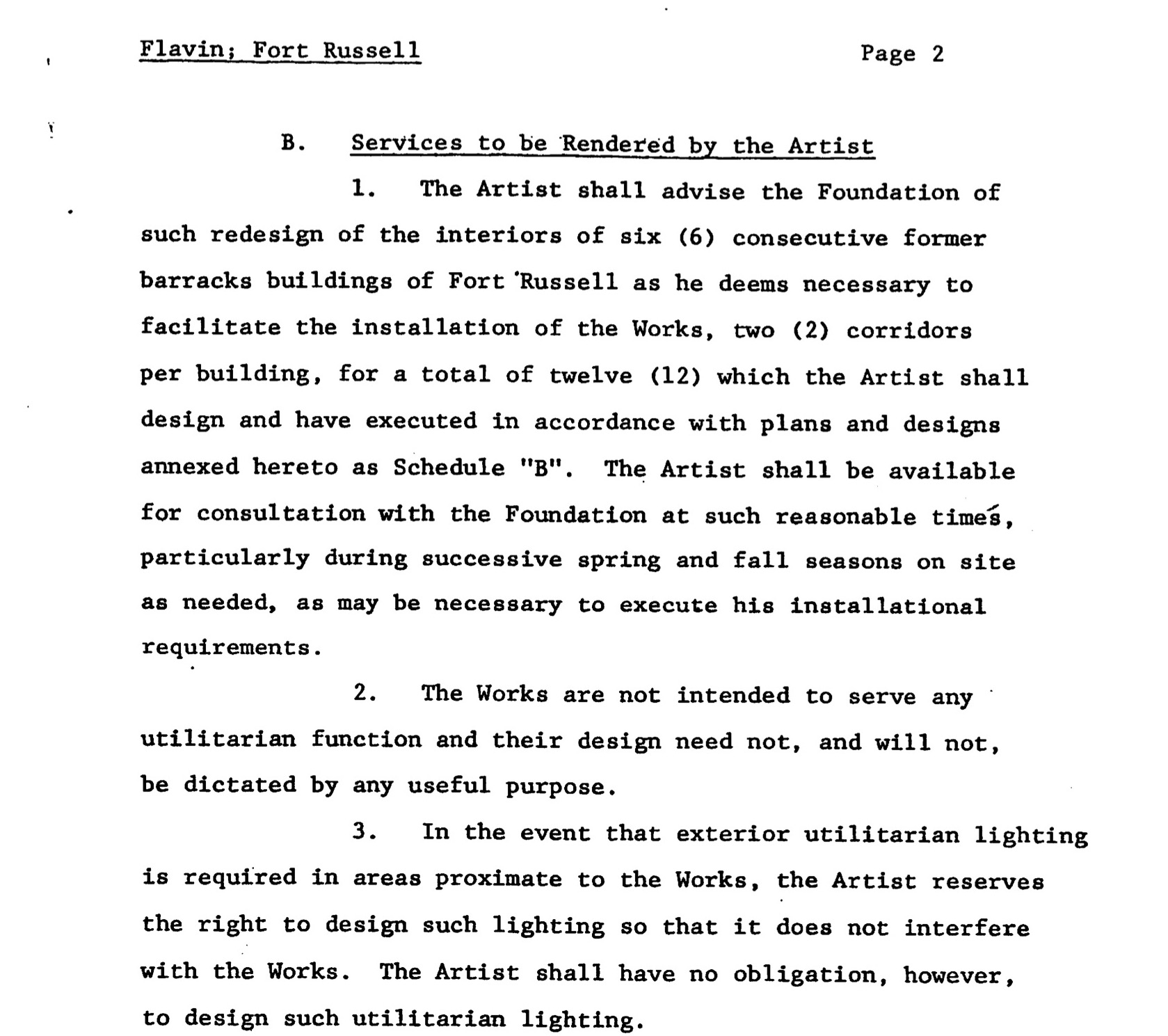 Page 2 of Dan Flavin's contract with Dia
